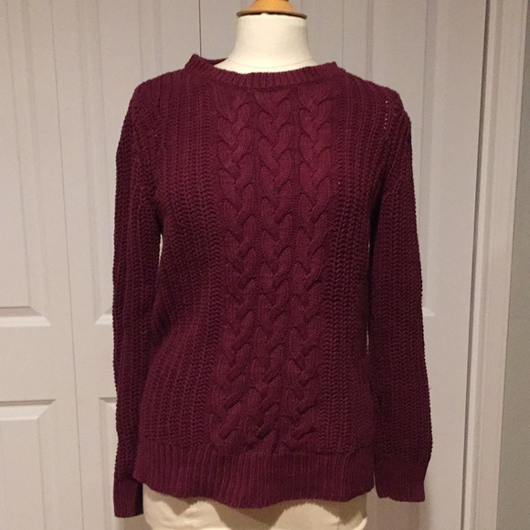 Nautica Sweaters Burgundy Cable Knit Sweater Poshmark